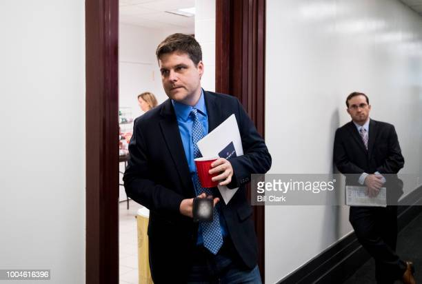Rep Matt Gaetz RFla leaves the House Republican Conference meeting in the Capitol on Tuesday July 24 2018