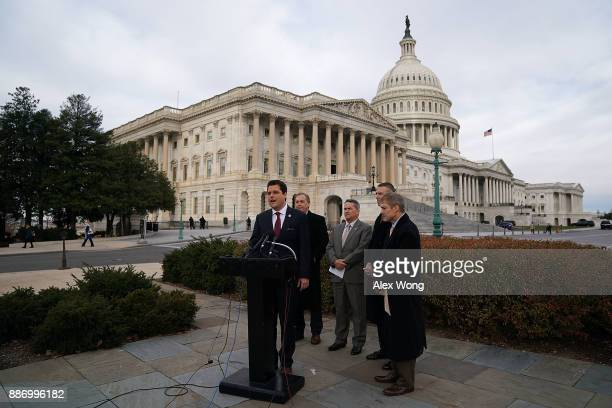 US Rep Matt Gaetz speaks as Rep Andy Biggs Rep Jody Hice Rep Scott Perry Rep Jim Jordan listen during a news conference in front of the Capitol...