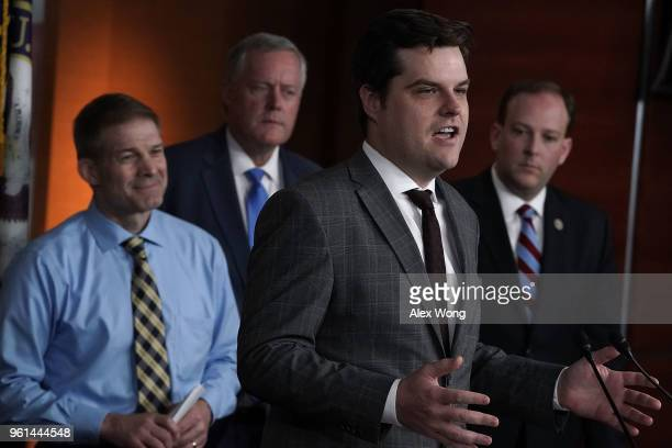 S Rep Matt Gaetz speaks as Rep Jim Jordan Rep Mark Meadows and Rep Lee Zeldin listen during a news conference May 22 2018 on Capitol Hill in...