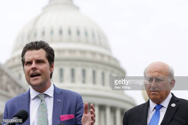 Rep. Matt Gaetz speaks as Rep. Louie Gohmert listens during a news conference outside the U.S. Capitol July 29, 2021 in Washington, DC. The...