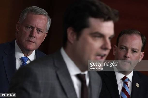 S Rep Matt Gaetz speaks as Rep Mark Meadows and Rep Lee Zeldin listen during a news conference May 22 2018 on Capitol Hill in Washington DC Rep...