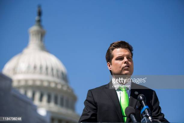 Rep Matt Gaetz speaks during a news conference to announce the Green Real Deal on April 3 2019 in Washington DC The Green Real Deal is a resolution...