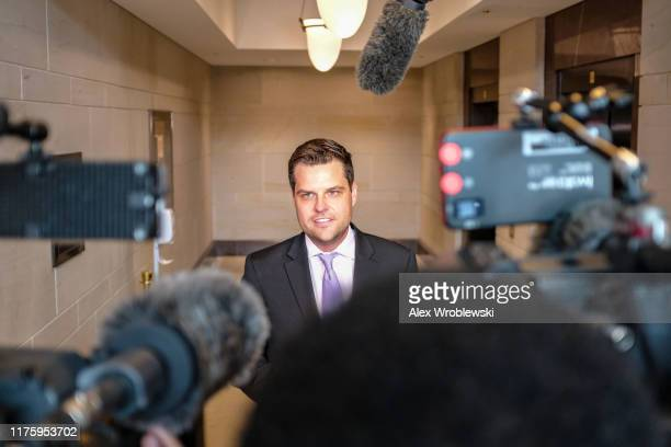 S Rep Matt Gaetz speaks to members of the media on Capitol Hill on October 14 2019 in Washington DC Fiona Hill former Special Assistant to US...