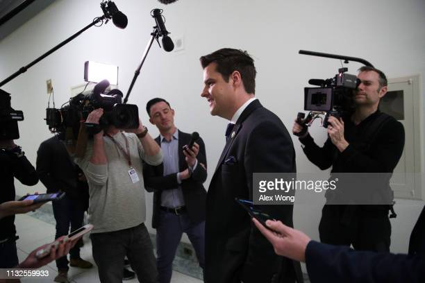 S Rep Matt Gaetz speaks to members of the media outside the hearing Michael Cohen former attorney and fixer for President Donald Trump testifies at...
