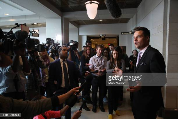 Rep Matt Gaetz speaks to the media as Fiona Hill former senior director for European and Russian affairs on the National Security Council attends a...