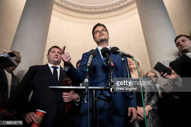 Rep. Matt Gaetz speaks to the press after the House Judiciary Committee approved two articles of impeachment against U.S. President Donald Trump in a...