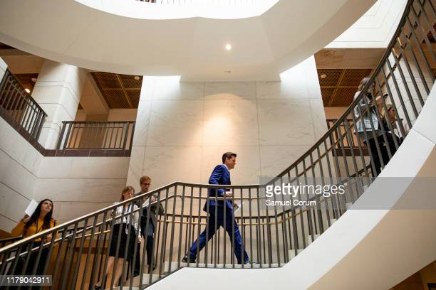 S Rep Matt Gaetz walks up the stairs after speaking to the media outside the Sensitive Compartmented Information Facility during the continued House...