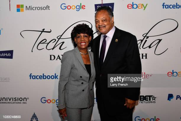 Rep Maxine Waters and Reverend Jesse Jackson appear at IMPACT Strategies and DP Creative Strategies Tech Media day party and brunch at Longview...
