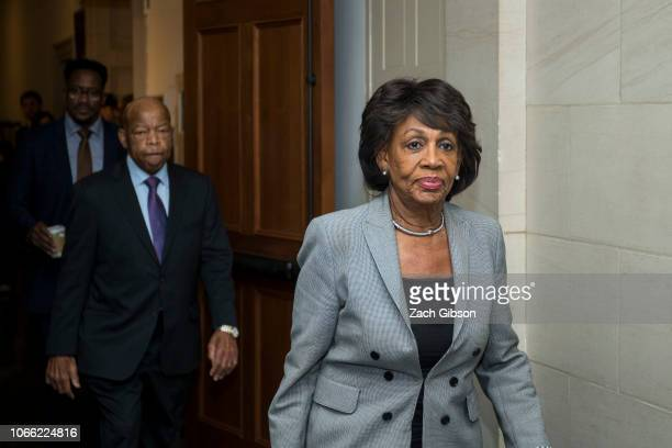 Rep Maxine Waters exits a Democratic Caucus meeting to elect new leadership on Capitol Hill on November 28 2018 in Washington DC House Democrats have...