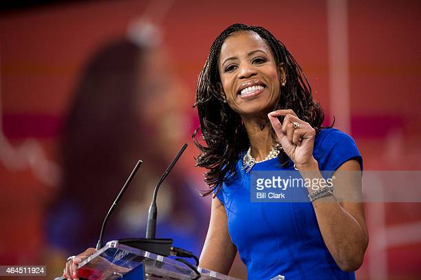 Rep. Mia Love, R-Utah, speaks to the crowd at CPAC in National Harbor, Md., on Feb. 26, 2015.