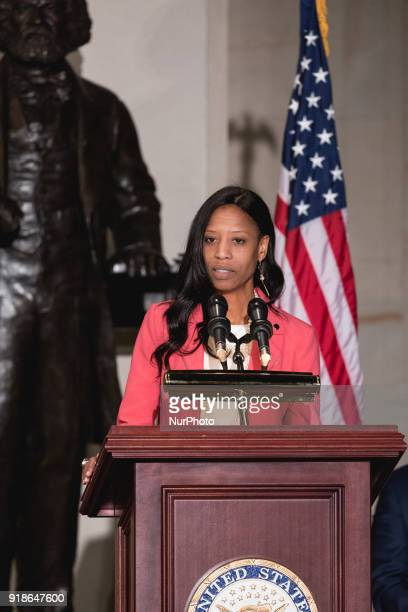 Rep Mia Love speaks at the Commemoration of the Bicentennial of the Birth of Frederick Douglass in Emancipation Hall of the US Capitol on Wednesday...