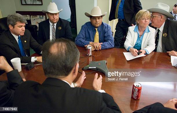 Rep Michael McCaul RTexas left and House Republican Conference Chairwoman Deborah Pryce ROhio host a conference call news conference on border...