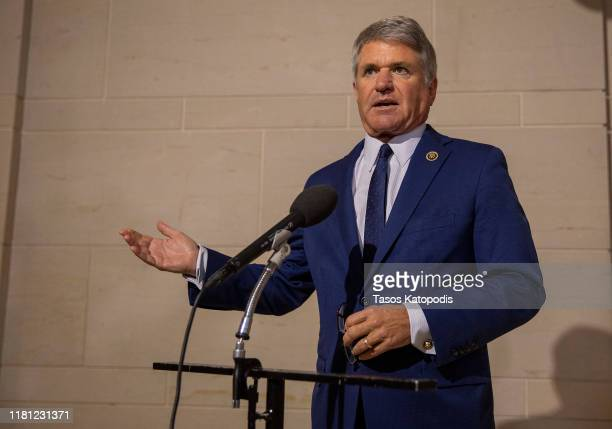 S Rep Michael McCaul speaks to the media before a closed session before the House Intelligence Foreign Affairs and Oversight committees October 15...