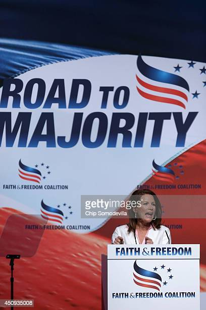 Rep. Michele Bachmann addresses the Faith and Freedom Coalition's 'Road to Majority' Policy Conference at the Omni Shoreham hotel June 20, 2014 in...