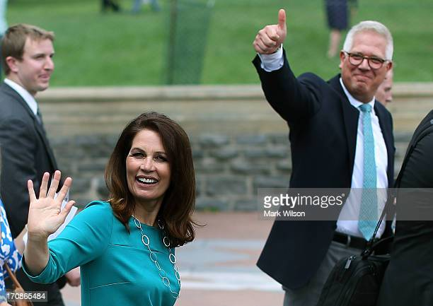 Rep. Michele Bachmann and Glenn Beck wave to supporters at a Tea Party rally in front of the U.S. Capitol, June 17, 2013 in Washington, DC. The group...