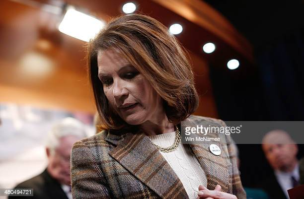 Rep. Michele Bachmann finishes speaking during a news conference at the U.S. Capitol following oral arguments at the Supreme Court on issues...