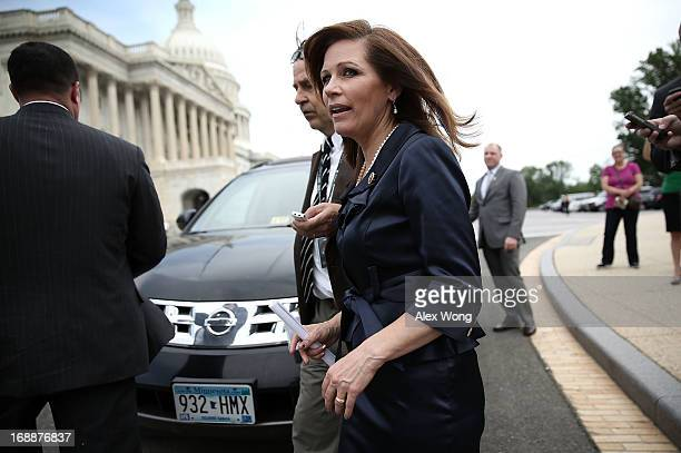 Rep. Michele Bachmann leaves after a news conference May 16, 2013 on Capitol Hill in Washington, DC. Bachmann held a news conference with Tea Party...