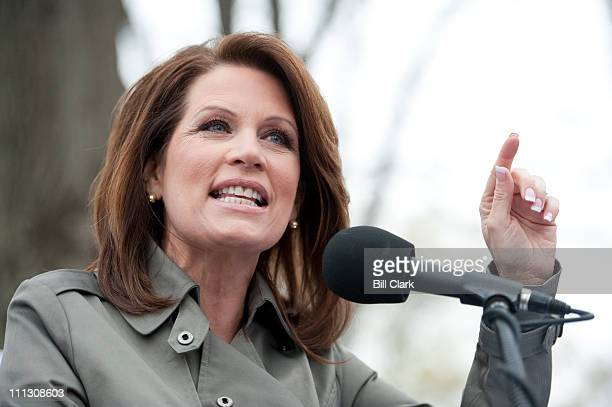 Rep Michele Bachmann RMinn speaks to the crowd at the Tea Party Patriots' Continuing Revolution rally at the US Capitol on Thursday March 31 2011