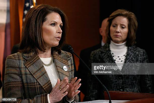 Rep. Michele Bachmann speaks during a news conference at the U.S. Capitol following oral arguments at the Supreme Court on issues surrounding the...