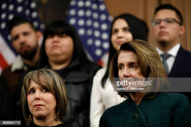 Rep Michelle Lujan Grisham at left and House Minority Leader Nancy Pelosi look on at a press conference calling for the passage of the Dream Act at...