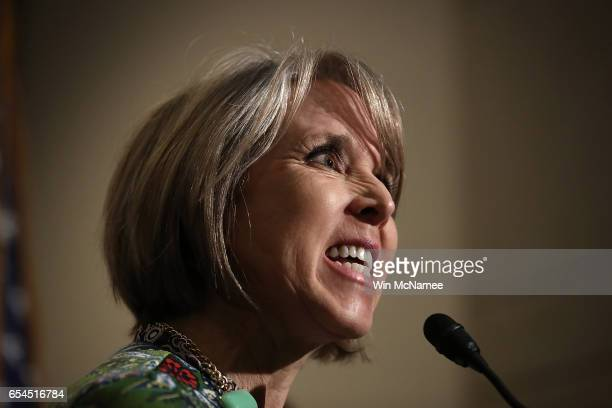 Rep Michelle Lujan Grisham chairwoman of the Congressional Hispanic Caucus delivers remarks following a meeting between US Secretary of Homeland...