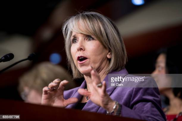 Rep Michelle Lujan Grisham DNM participates in the House Democrats' news conference to hold President Trump accountable for his failed vision for...