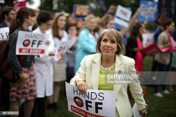 Rep Michelle Lujan Grisham joins fellow House Democrats during a news conference to criticize President Donald Trump's proposed federal FY2018 budget...