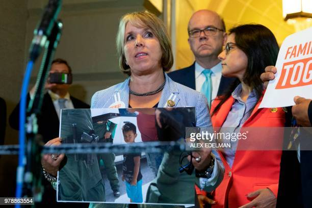 Rep Michelle Lujan Grisham protests outside meeting where a US President Donald Trump speaks with Republican members of Congress at the US Capitol in...