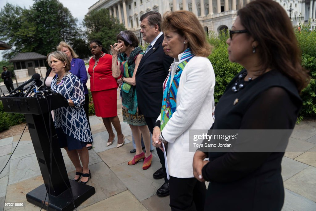 Rep. Michelle Lujan Grisham (D-NM), speaks during a news conference on immigration to condemn the Trump Administration's 'zero tolerance' immigration policy, outside the US Capitol on June 13, 2018 in Washington, DC.