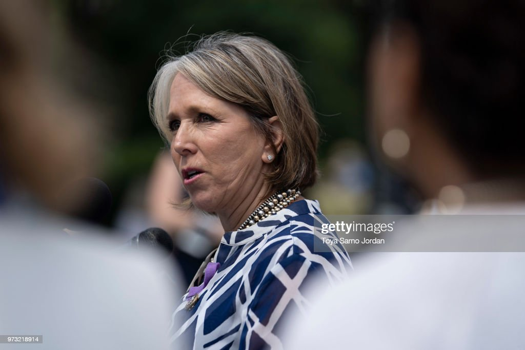 Rep. Michelle Lujan Grisham (D-NM) speaks during a news conference on immigration to condemn the Trump Administration's 'zero tolerance' immigration policy, outside the US Capitol on June 13, 2018 in Washington, DC.
