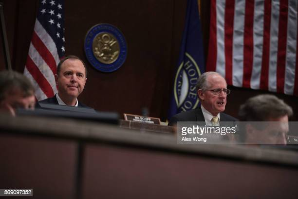 S Rep Mike Conaway speaks as Rep Adam Schiff listens during a hearing before the House Intelligence Committee November 1 2017 on Capitol Hill in...