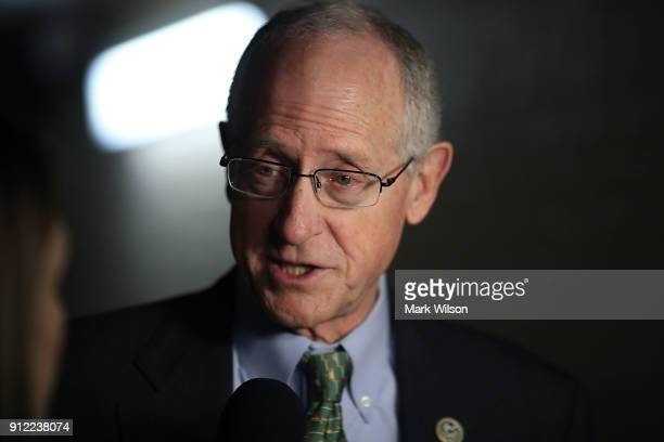 Rep Mike Conaway speaks to the media after attending a meeting with House GOP members on Capitol Hill January 30 2018 in Washington DC