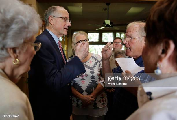 S Rep Mike Conaway speaks with constituents at a town hall meeting at the Mason County Library on April 18 2017 in Mason Texas Conaway is replacing...