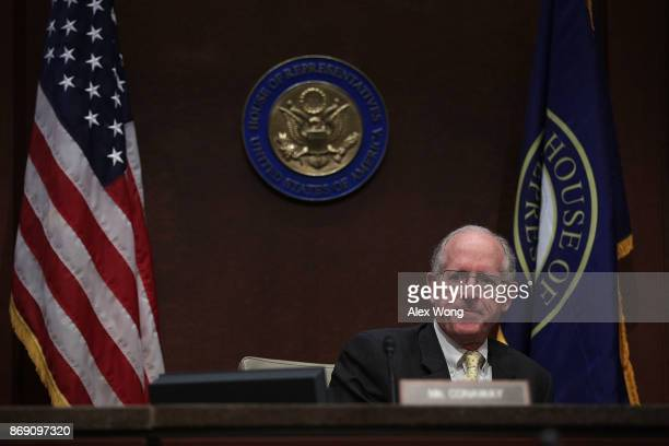 S Rep Mike Conaway waits for the beginning of a hearing before the House Intelligence Committee November 1 2017 on Capitol Hill in Washington DC The...