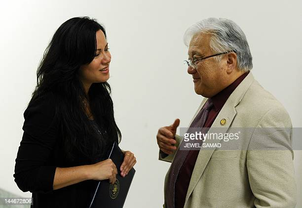 US Rep Mike Honda DCalif speaks with Shannon Lee daughter of late Bruce Lee and president of the Bruce Lee Foundation at the Rayburn House Office...