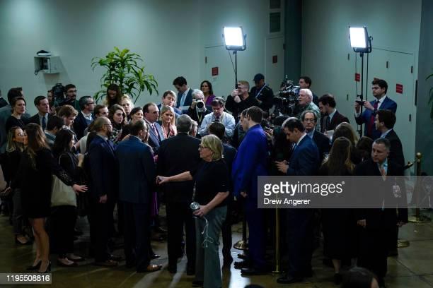 Rep. Mike Johnson , Rep. Mark Meadows , Rep. Elise Stefanik , Rep. Lee Zeldin , and Rep. Jim Jordan speak with reporters in the Senate subway before...