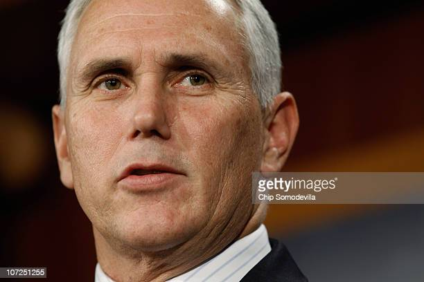 S Rep Mike Pence answers reporters questions during a news conference at the US Capitol December 2 2010 in Washington DC Pence and US Sen Jim DeMint...