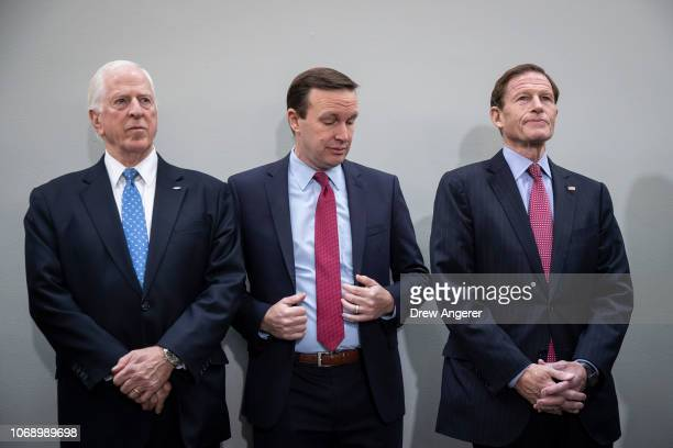 Rep Mike Thompson Sen Chris Murphy and Sen Richard Blumenthal attend a news conference to demand action for gun violence prevention December 6 2018...