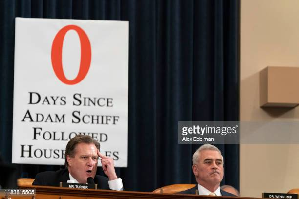 US Rep Mike Turner alongside US Rep Brad Wenstrup questions Fiona Hill the National Security Council's former senior director for Europe and Russia...
