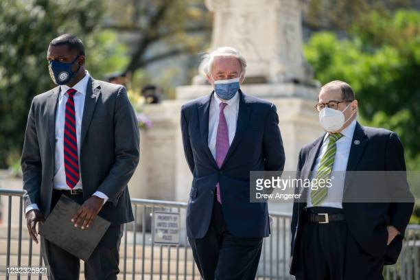 Rep. Mondaire Jones , Sen. Ed Markey , and House Judiciary Committee Chairman Rep. Jerrold Nadler arrive for a press conference in front of the U.S....