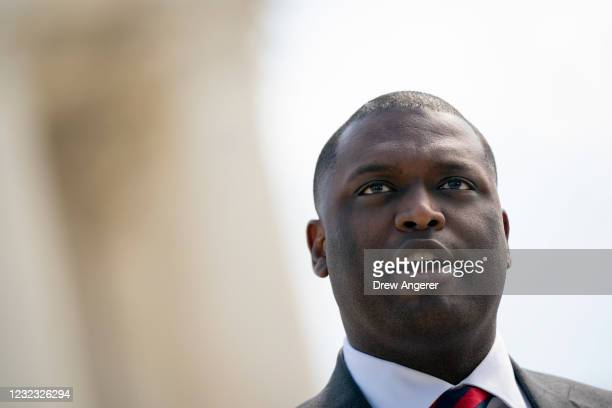 Rep. Mondaire Jones speaks during a press conference in front of the U.S. Supreme Court to announce legislation to expand the number of seats on the...