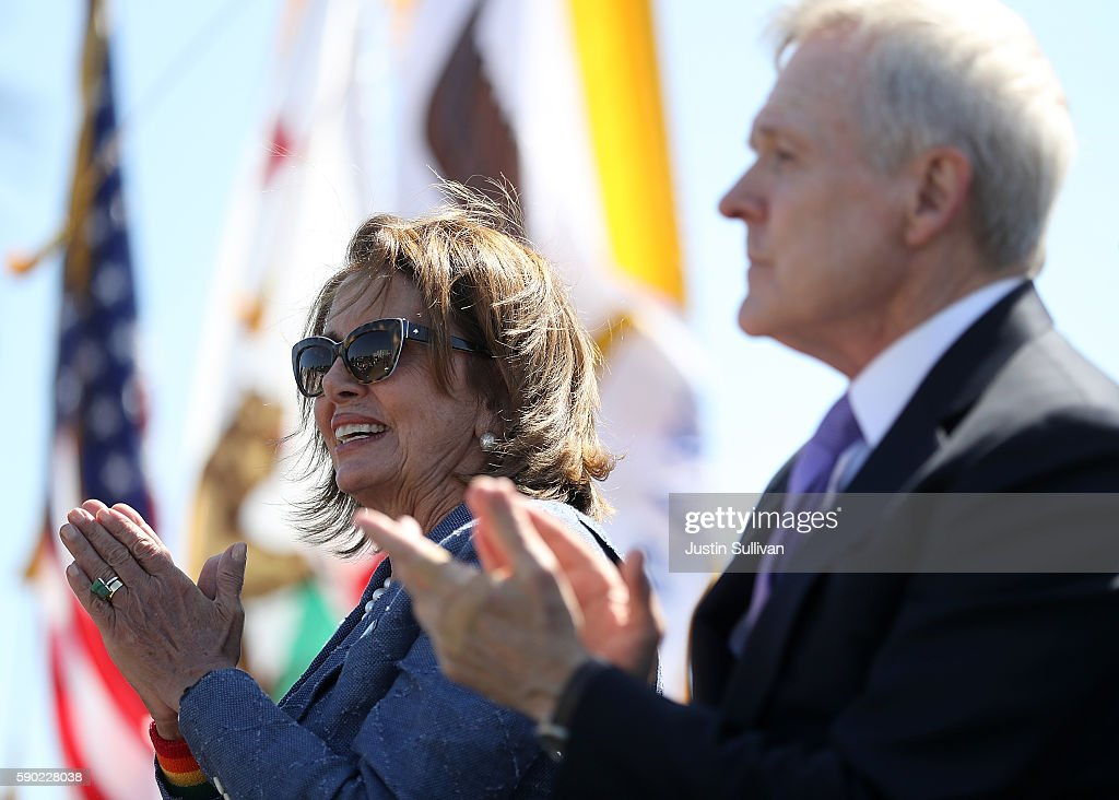 U.S. Rep Nancy Pelosi (D-CA) and U.S. secretary of the Navy Ray Mabus look on during a ship naming ceremony for the new USNS Harvey Milk on August 16, 2016 in San Francisco, California. U.S. Navy officials announced plans to name a new replenishment oiler ship after slain civil rights leader Harvey Milk. Six new ships in the class with be named after civil and human rights leaders.