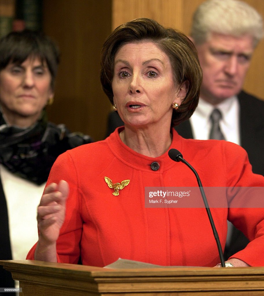 Rep. Nancy Pelosi (D-CA) speaks at a news conference on the GOP budget and Social Security in the House Radio and TV Gallery on Tuesday.