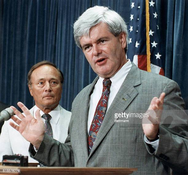 Rep Newt Gingrich speaks to reporters about a proposed federal gas tax during a press conference in Washington DC