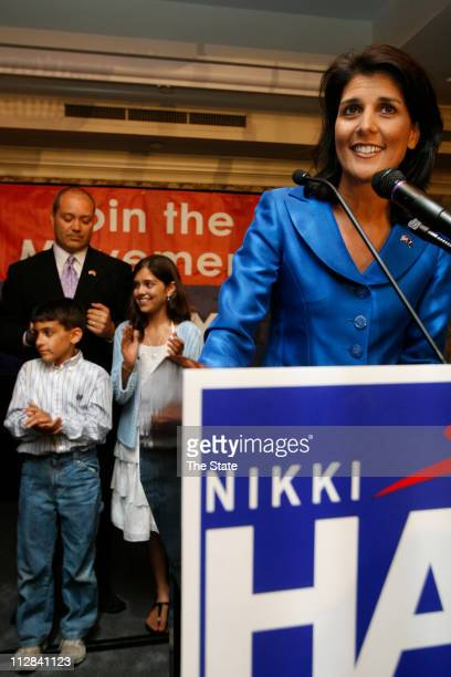 Rep Nikki Haley RLexington took the majority of the GOP vote in the gubernatorial primary and gives a victory speech to supporters at the Capital...
