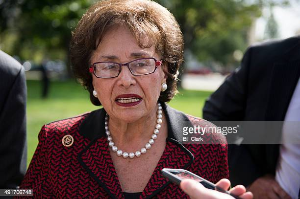 Rep Nita Lowey DNY speaks to reporters during the NDD United Rally for a Stronger America outside of the Capitol on Wednesday Oct 7 2015 The rally...