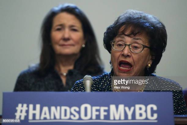 S Rep Nita Lowey speaks as Rep Diana DeGette listens during a news conference October 26 2017 on Capitol Hill in Washington DC The Congressional...