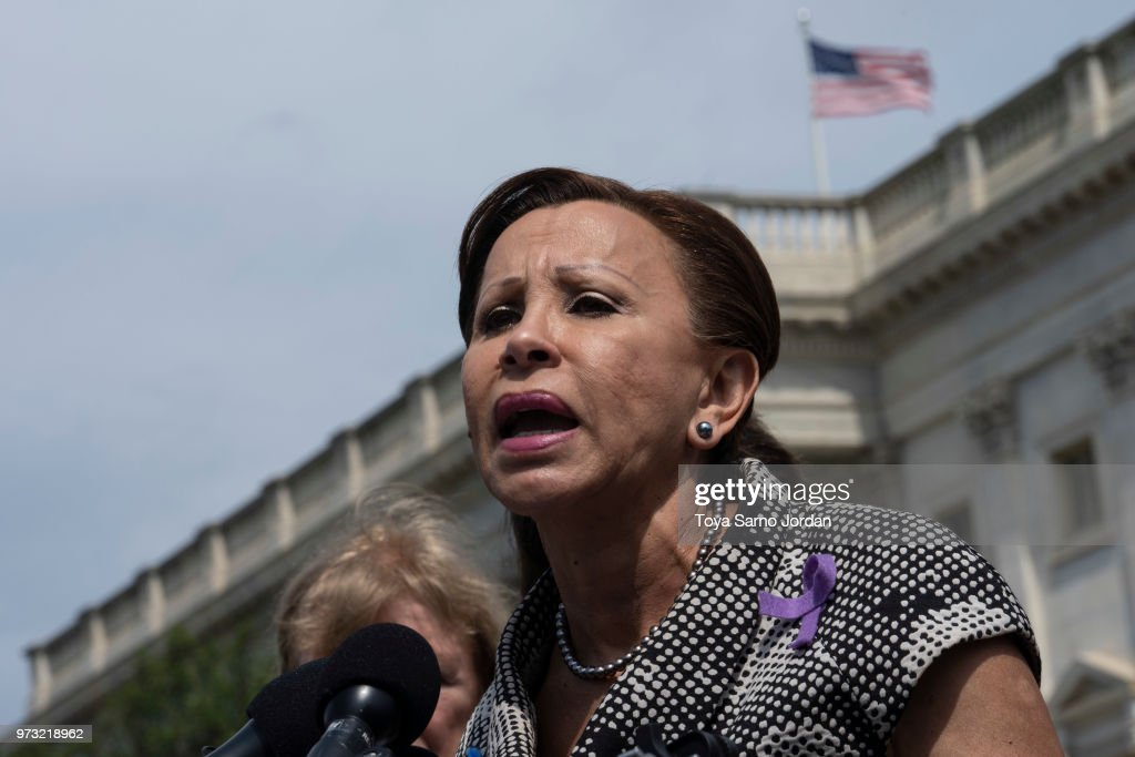 Rep. Nydia Velazquez (D-NY) speaks during a news conference on immigration to condemn the Trump Administration's 'zero tolerance' immigration policy, outside the US Capitol on June 13, 2018 in Washington, DC.