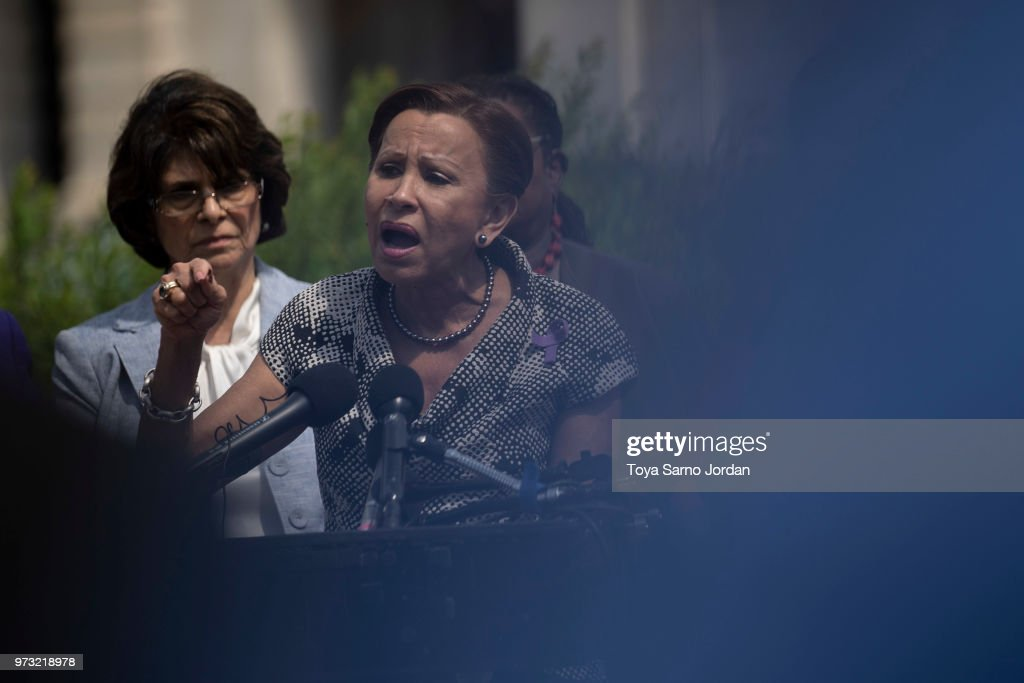 Rep. Nydia Velazquez (D-NY), speaks during a news conference on immigration to condemn the Trump Administration's 'zero tolerance' immigration policy, outside the US Capitol on June 13, 2018 in Washington, DC.