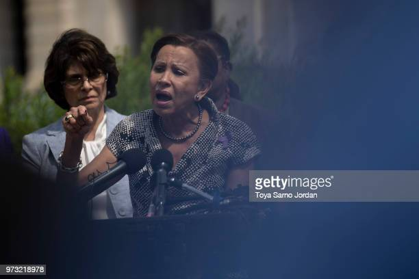 Rep Nydia Velazquez speaks during a news conference on immigration to condemn the Trump Administration's 'zero tolerance' immigration policy outside...